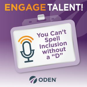 Engage Talent graphic with a microphone for podcast